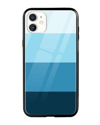 Shop Blue Color Block iPhone 11 Mobile Cover-Front