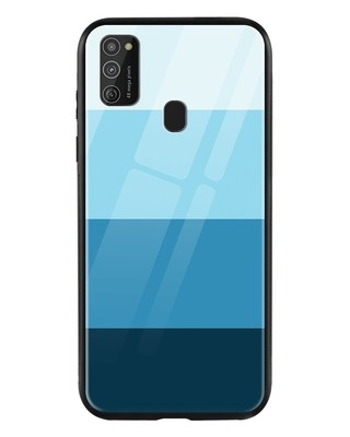 Shop Blue Color Block Samsung Galaxy M21 Mobile Cover-Front
