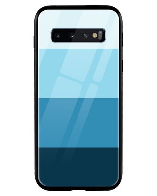 Shop Blue Color Block Samsung Galaxy S10 Mobile Cover-Front