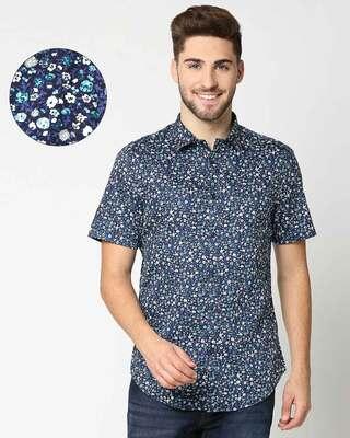 Shop AOP Satin Print Half Sleeve Shirt-Front