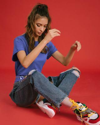 Shop Blue Haze Boyfriend T-Shirt-Front
