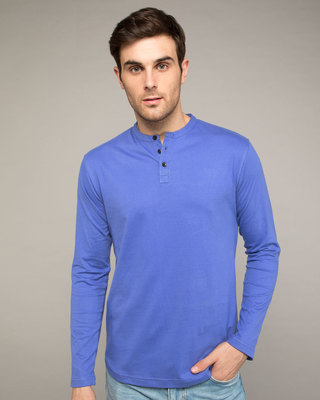 Shop Blue Haze Full Sleeve Henley T-Shirt-Front