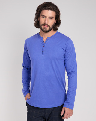 Shop Blue Haze V-Neck Henley T-Shirt-Front