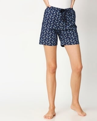 Shop Blue Leaves Women's Boxer Shorts-Front