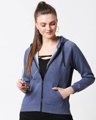 Shop Blue Melange Zipper Hoodie-Front