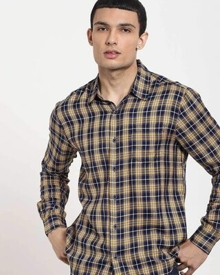 Shop Beige Checks Casual Full Sleeve Shirt-Front