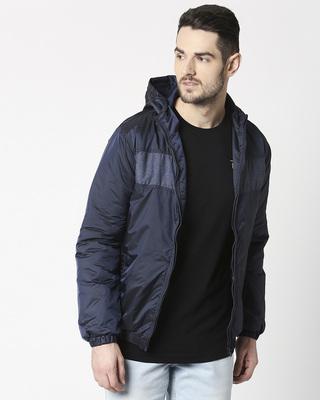 Shop Blue Metallic Puffer Jacket-Front