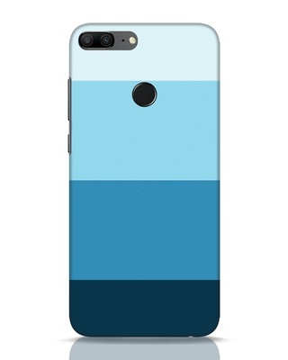 Shop Blue Ombre Stripes Huawei Honor 9 Lite Mobile Cover-Front