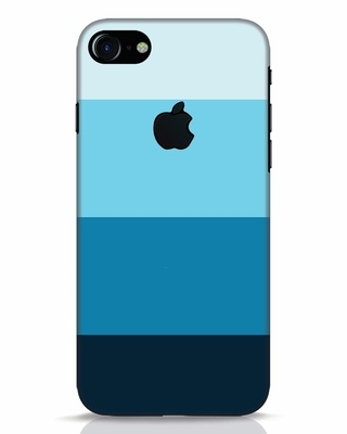 Shop Blue Ombre Stripes iPhone 7 Logo Cut Mobile Cover-Front
