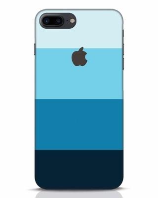 Shop Blue Ombre Stripes iPhone 7 Plus Logo Cut Mobile Cover-Front