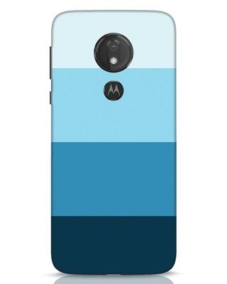 Shop Blue Ombre Stripes Moto G7 Power Mobile Cover-Front