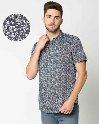 Shop AOP Satin Print Half Sleeve Shirt-Front