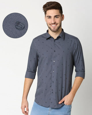 Shop Blue Poplin Print Shirt-Front