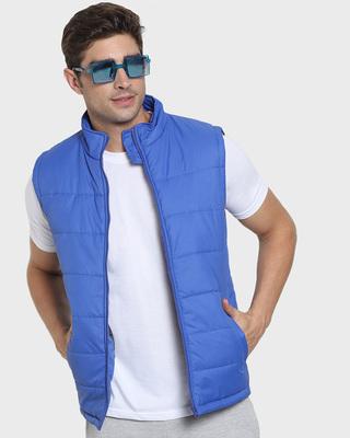 Shop Royal Blue Sleeveless Puffer Jacket-Front