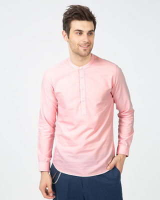 Shop Misty Pink Mandarin Collar Henley Full Sleeve Shirt-Front