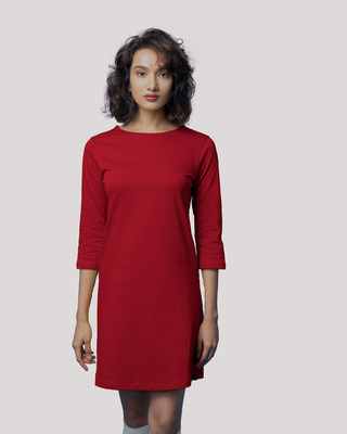 Shop Bold Red Boat Neck 3/4th Sleeve T-Shirt Dress-Front