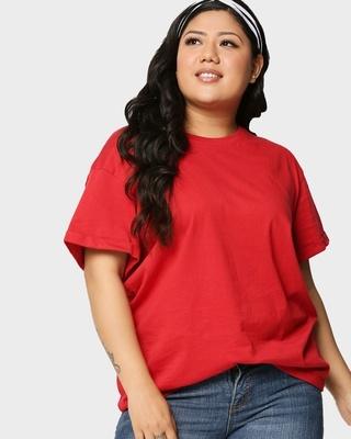 Shop Bold Red Boyfriend Plus Size Boyfriend T-Shirt-Front