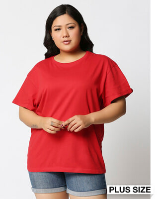 Shop Bold Red Boyfriend Plus Size Boyfriend T-Shirt-Front