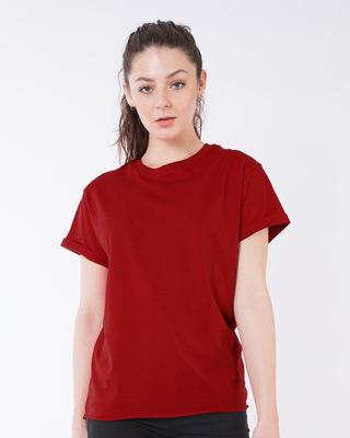 Shop Bold Red Boyfriend T-Shirt-Front