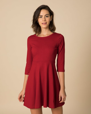 Shop Bold Red Flared Dress-Front