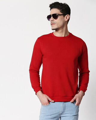 Shop Bold Red Fleece Sweater-Front