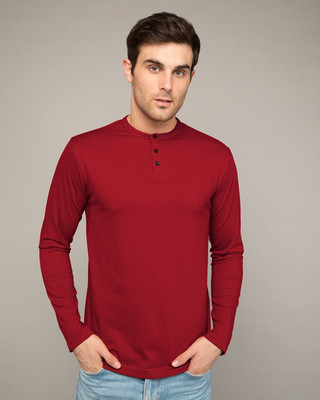 Shop Bold Red Full Sleeve Henley T-Shirt-Front