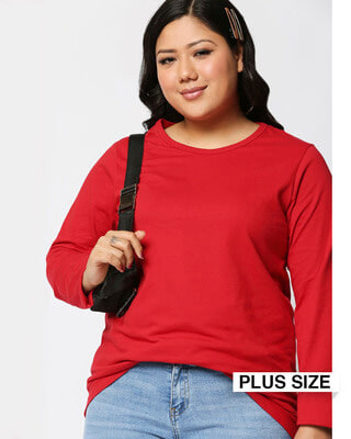 Shop Bold Red Full Sleeve Plus Size T-Shirt-Front