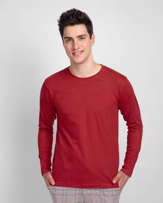 Shop Bold Red Full Sleeve T-Shirt-Front