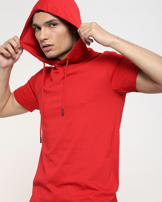 Shop Bold Red Half Sleeve Hoodie T-shirt-Front