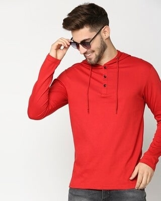 Shop Bold Red Henley Hoodie Full Sleeve T-Shirt-Front