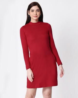 Shop Bold Red High Neck Pocket Dress-Front