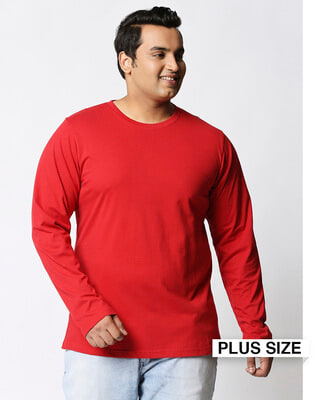 Shop Bold Red Plus Size Full Sleeve T-Shirt-Front