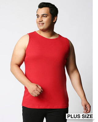 Shop Bold Red Plus Size Vest-Front