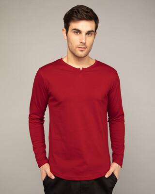Shop Bold Red Slit Neck Full Sleeve Henley T-shirt-Front