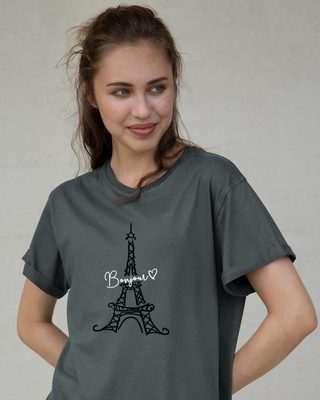 Shop Bonjour Paris Boyfriend T-Shirt-Front