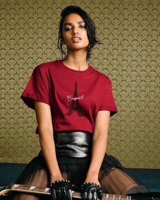 Shop Bonjour Paris Boyfriend T-Shirts-Front