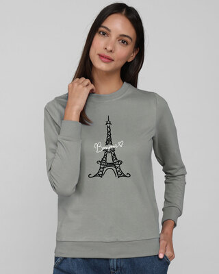 Shop Bonjour Paris Fleece Light Sweatshirt-Front