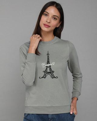 Shop Bonjour Paris Fleece Light Sweatshirt-Front