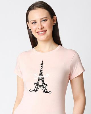 Shop Bonjour Paris Half Sleeve Printed Pink T-Shirt-Front