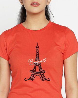 Shop Bonjour Paris Half Sleeve Printed Red T-Shirt-Front