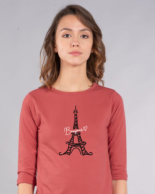 Shop Bonjour Paris Round Neck 3/4th Sleeve T-Shirt-Front
