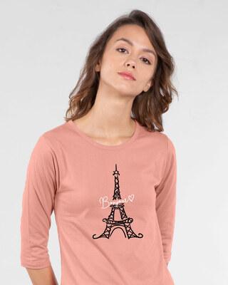 Shop Bonjour Paris Round Neck 3/4th Sleeve T-Shirt-Front