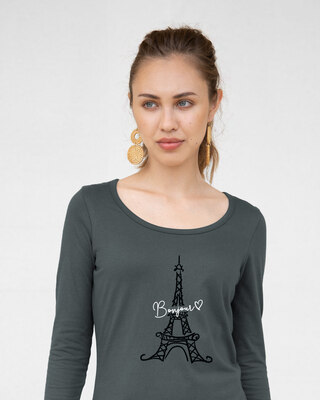 Shop Bonjour Paris Scoop Neck Full Sleeve T-Shirt-Front