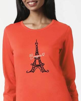 Shop Bonjour Paris Printed Full Sleeve T-shirt-Front