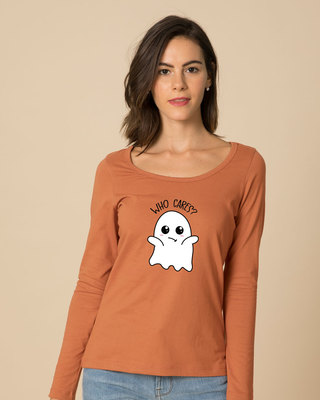 Shop Boo Cares Scoop Neck Full Sleeve T-Shirt-Front