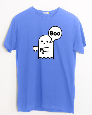 Shop BOOBOO Half Sleeve T-Shirt Dazzling Blue-Front