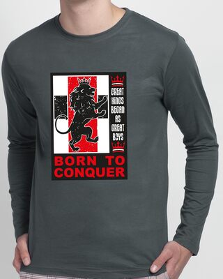 Shop Born To Conquer Full Sleeve T-Shirt Nimbus Grey-Front