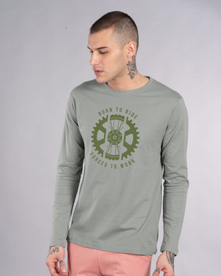 Shop Born To Ride Forced To Work Full Sleeve T-Shirt-Front