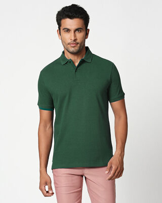 Shop Bottle Green Classic Polo-Front