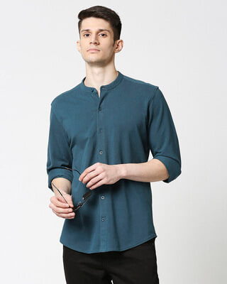 Shop Comfort Pique Knit Bottle Green Shirt-Front